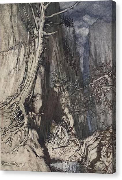Sleeping Giant Canvas Print - There Is A Dread Dragon He Sojourns by Arthur Rackham