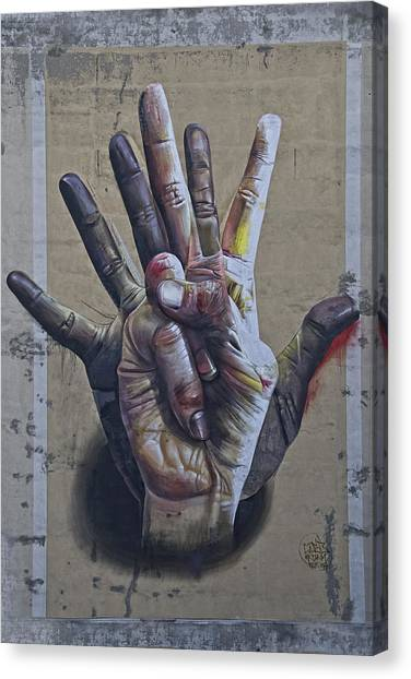 Graffiti Walls Canvas Print - These Are The Hands . . . by Joachim G Pinkawa
