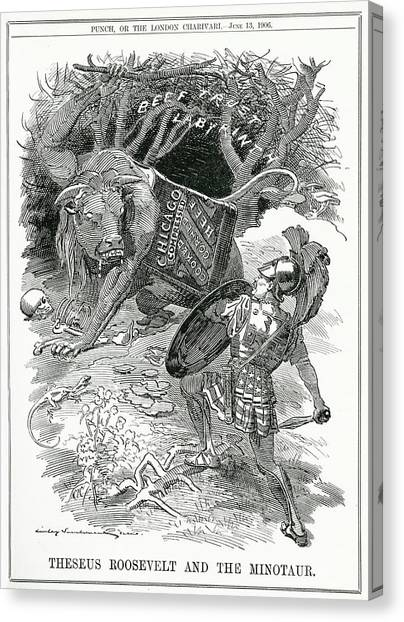 Minotaurs Canvas Print - 'theseus Roosevelt And The  Minotaur' by Mary Evans Picture Library