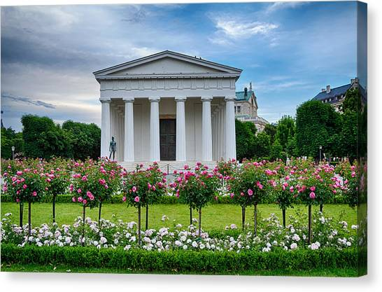Theseus Temple In Roses Canvas Print by Viacheslav Savitskiy