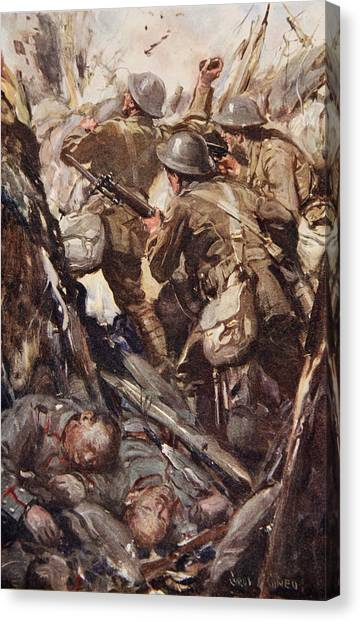 Grenades Canvas Print - They Bombed And Bayoneted Their Way by Cyrus Cuneo