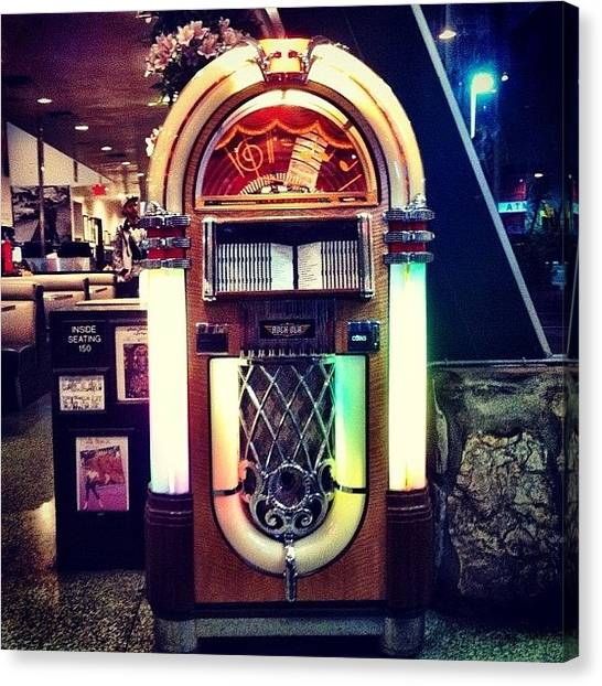 Jukebox Canvas Print - They Still Got These? #jukebox #la by Miles Jones