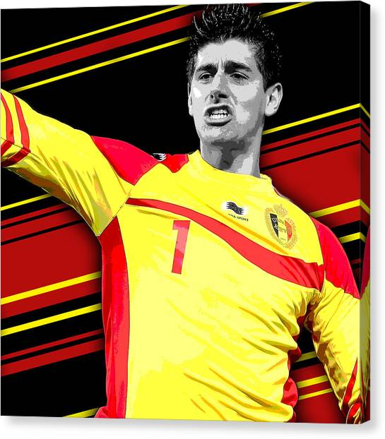 Soccer Players Canvas Print - Thibaut Courtois Belgium Print by Pro Prints