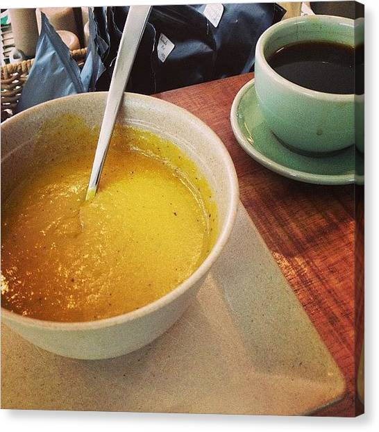 Vegetarian Canvas Print - Thick Pumpkin Soup And A Long Black For by Marcus Chan