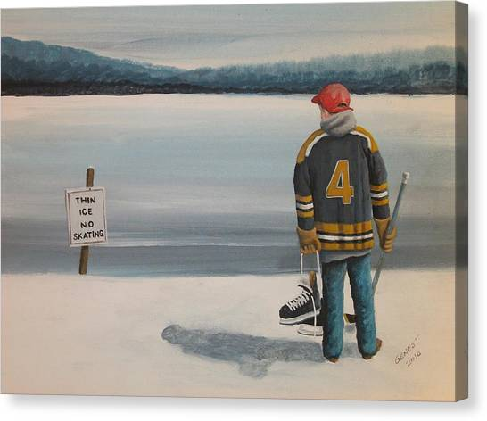 Bobby Orr Canvas Print - Thin Ice -  Bobby by Ron  Genest