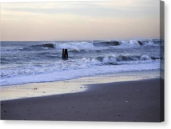 Think Metal - Morning Ocean Rockaways Canvas Print