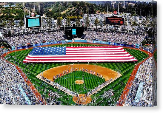 Los Angeles Dodgers Canvas Print - Think Red White And Blue by Benjamin Yeager