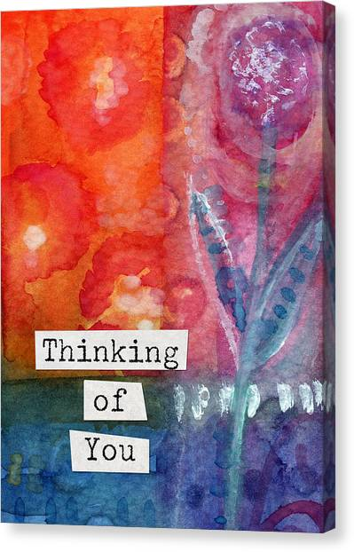 Sympathy Canvas Print - Thinking Of You Art Card by Linda Woods