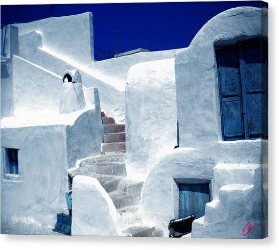 Thirasia Island Ancient House Near Santorini Greece Canvas Print