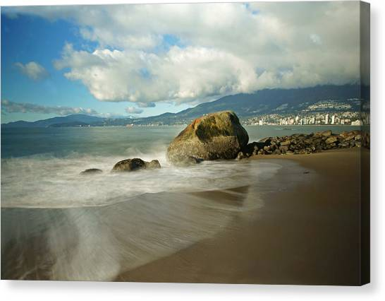 Third Beach In Vancouver Canvas Print by Ann  Badjura
