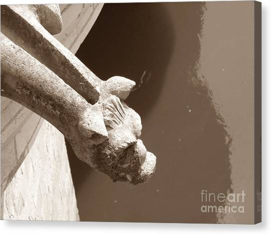 Thirsty Gargoyle - Sepia Canvas Print