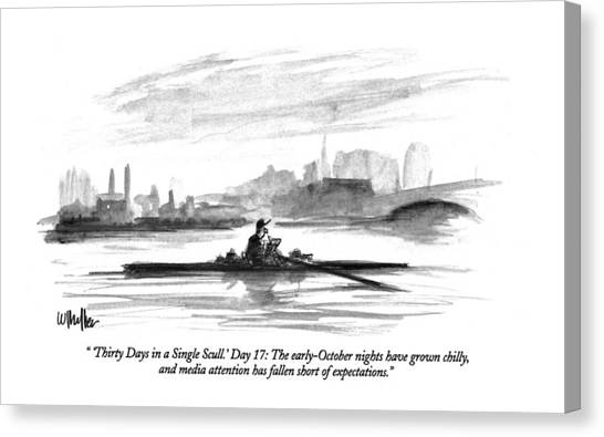 'thirty Days In A Single Scull.' Day 17: Canvas Print
