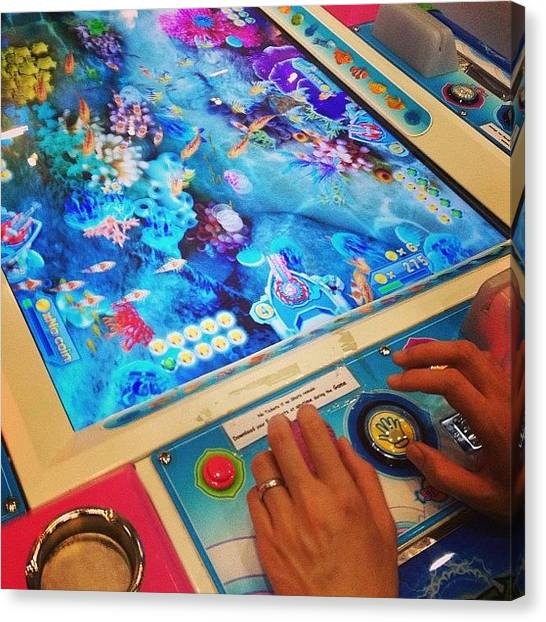 Whales Canvas Print - This #arcade #game Has Such Bad Mood by Vincy S