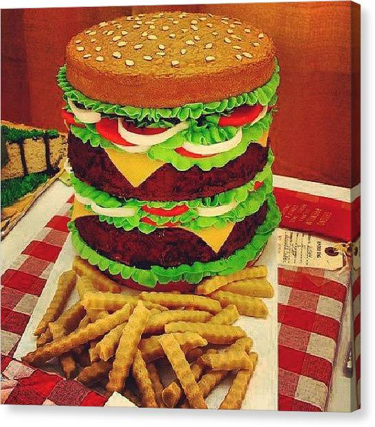 Meat Canvas Print - This Cake Just Made Me Hungry Lol Went by Brandon Fisher