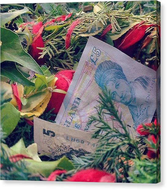 Wreath Canvas Print - This Is For The #money Around The by Alexandra Cook