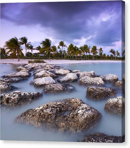 Palm Trees Sunsets Canvas Print - Storm Over The Keys by Tiffany Wuest