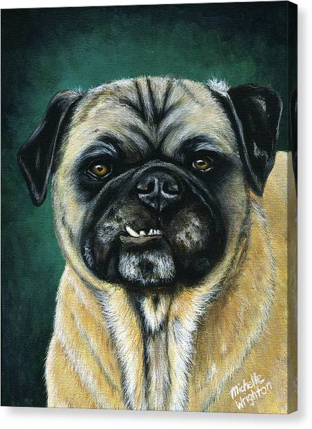 This Is My Happy Face - Pug Dog Painting Canvas Print