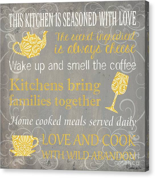 Tea Pot Canvas Print - This Kitchen Is Seasoned With Love by Debbie DeWitt