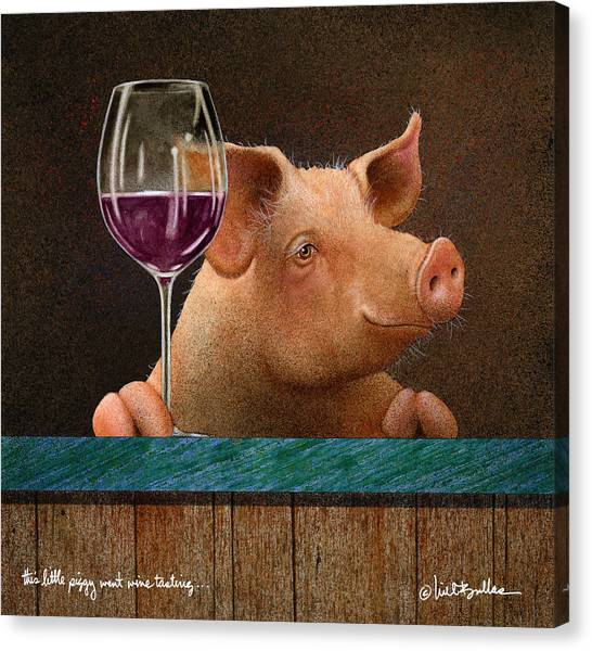 Red Wine Canvas Print - This Little Piggy Went Wine Tasting... by Will Bullas