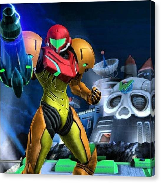 Metroid Canvas Print - This Pic Is Just Badass. #wtfgamersonly by Chuck Caldwell