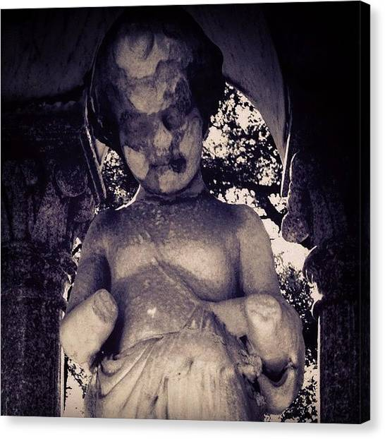 Old Age Canvas Print - This Statue Is Creepy To Me, Because Of by Kerri Ann Crau