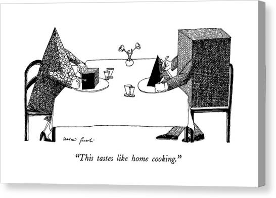 Dinner Table Canvas Print - This Tastes Like Home Cooking by Mimi Gnol