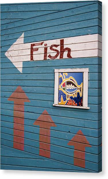 Fish Market Canvas Print - This Way To The Fish by Carol Leigh