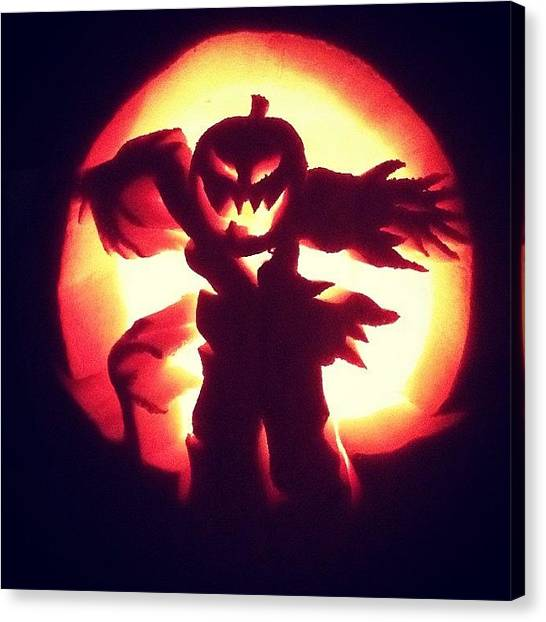 Scarecrows Canvas Print - This Years Pumpkin No1... Happy by Tim Paul