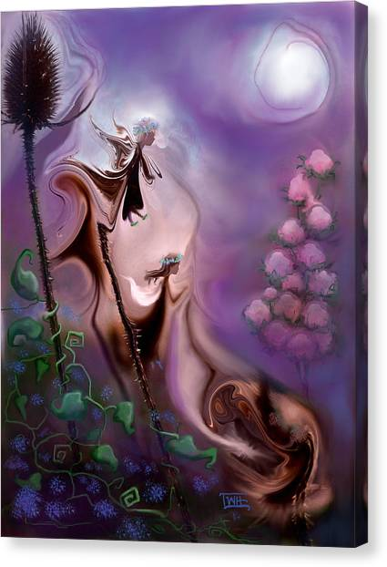 Thistle Fairies By Moonlight Canvas Print