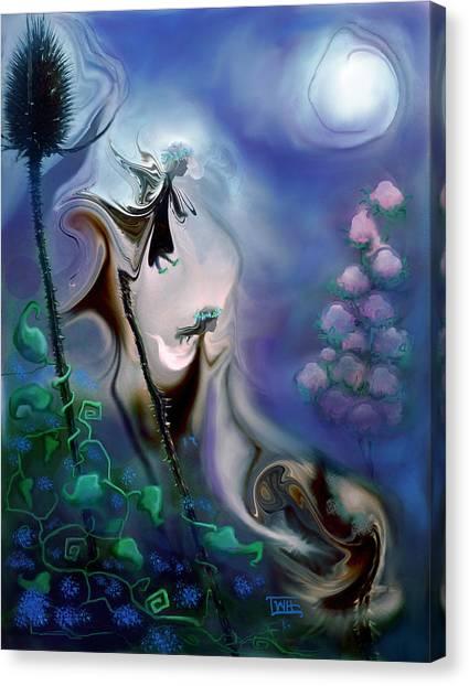 Thistle Fairies In Blue Canvas Print