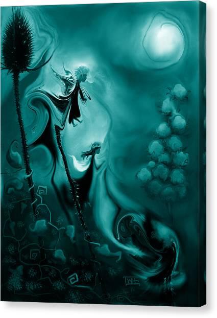 Thistle Fairies In Monochrome Canvas Print