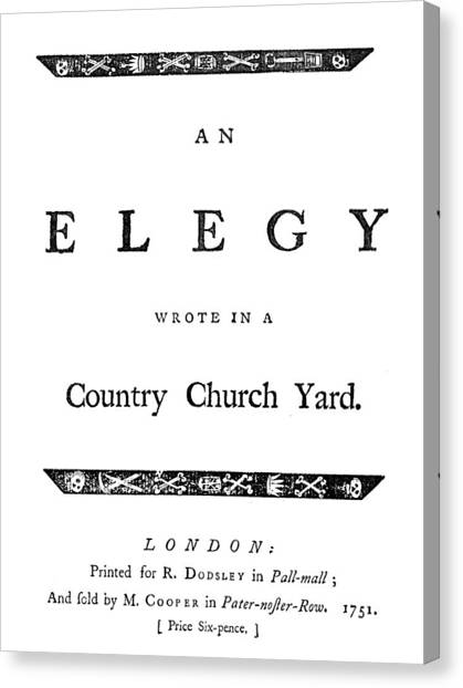 Church Yard Canvas Print - Thomas Gray Elegy, 1751 by Granger