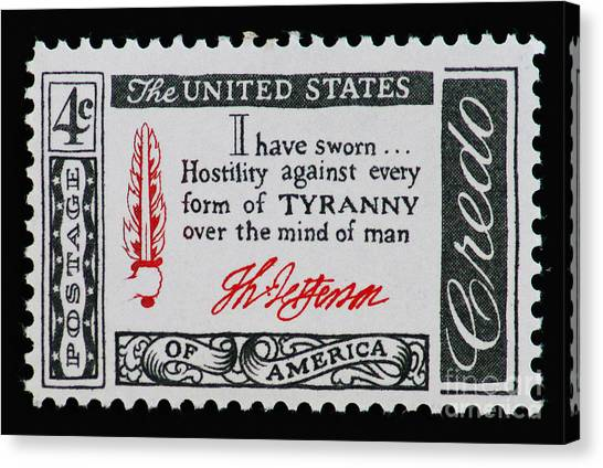 Thomas Jefferson American Credo Vintage Postage Stamp Print Canvas Print