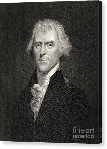 President Jefferson Canvas Print - Thomas Jefferson by English School