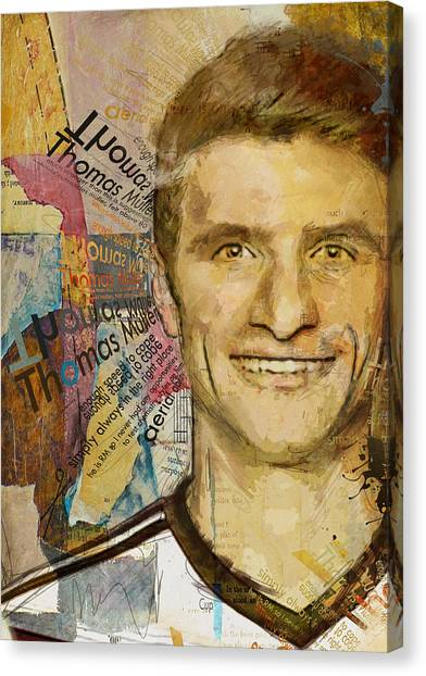 Manchester United Canvas Print - Thomas Muller by Corporate Art Task Force