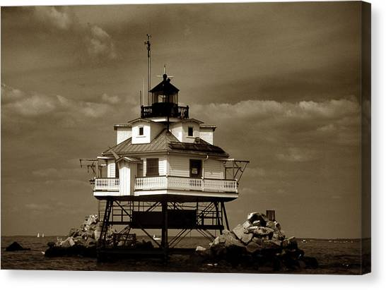 Thomas Point Shoal Lighthouse Sepia Canvas Print