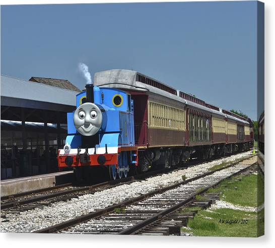 Thomas The Train Canvas Print - Thomas The Tank Engine Arrives by Allen Sheffield