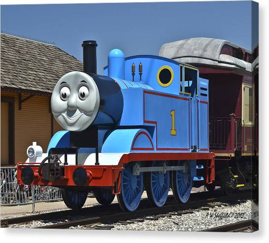 Thomas The Train Canvas Print - Thomas The Tank Engine At Rest by Allen Sheffield