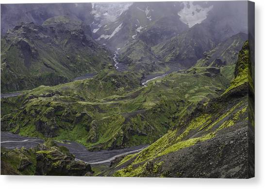 Eyjafjallajokull Canvas Print - Thorsmork Toward Myrdalsjokull by Alex Blondeau