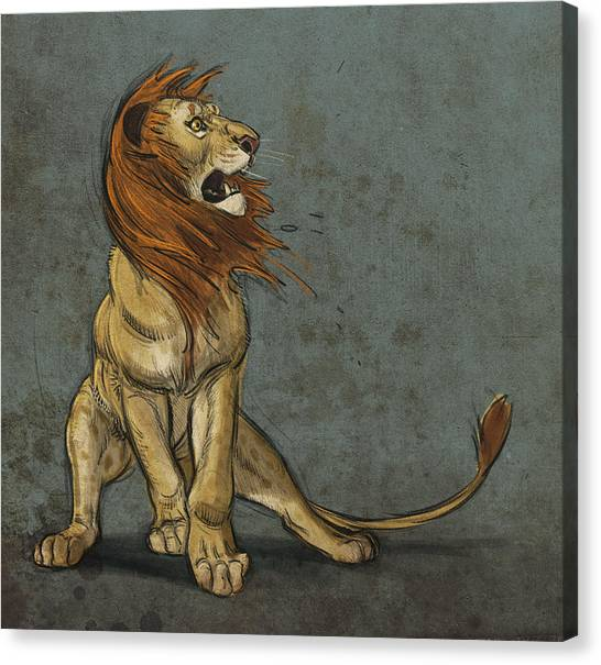Lions Canvas Print - Threatened by Aaron Blaise