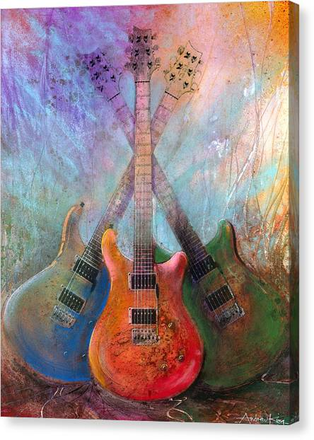 Electric Guitars Canvas Print - Three Amigos by Andrew King