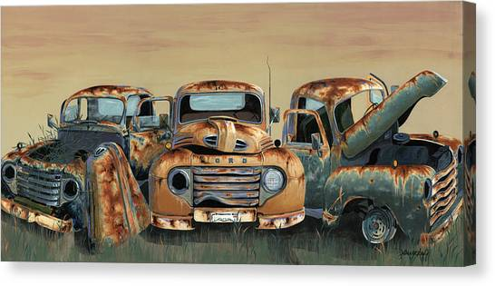 Old Trucks Canvas Print - Three Amigos by John Wyckoff