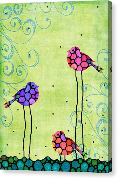 Canaries Canvas Print - Three Birds - Spring Art By Sharon Cummings by Sharon Cummings