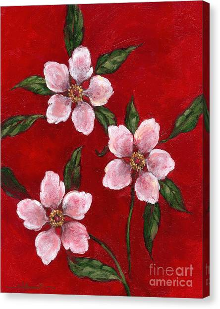 Three Blossoms On Red Canvas Print