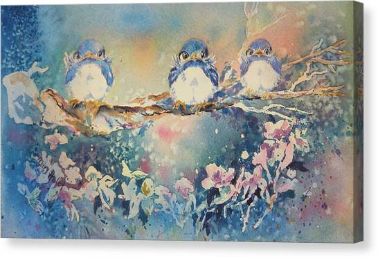 Three Blue Birds Canvas Print
