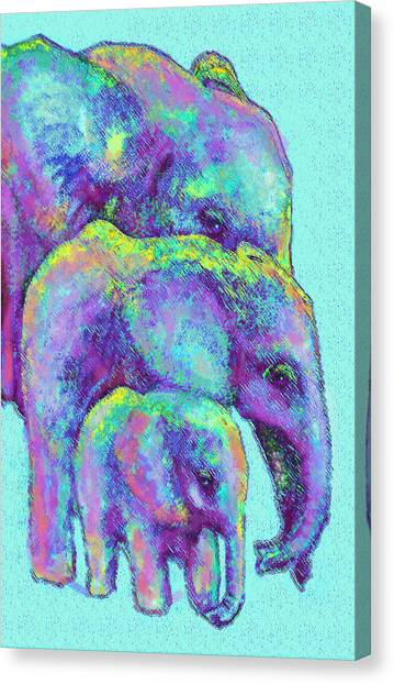 Three Blue Elephants Canvas Print