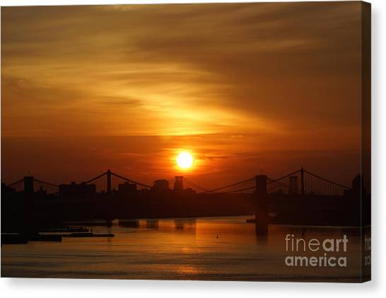 Three Bridges At Sunrise Canvas Print