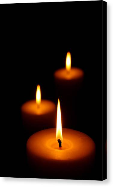 Flames Canvas Print - Three Burning Candles by Johan Swanepoel