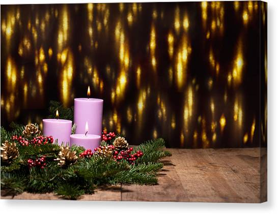Three Candles In An Advent Flower Arrangement Canvas Print