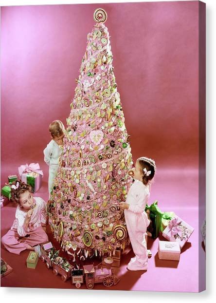 Three Children Eating A Candy Christmas Tree Canvas Print